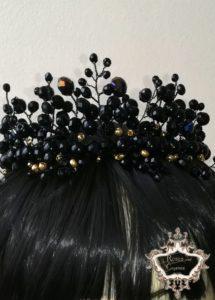 Корона за коса за абитуриентски бал в черно и златно