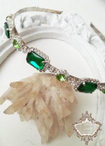Диадема за абитуриентски бал с кристали в зелено Emerald Rose by Rosie