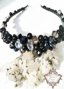 Дизайнерска диадема с кристали, перли и цирконии в черно - Dark Rose