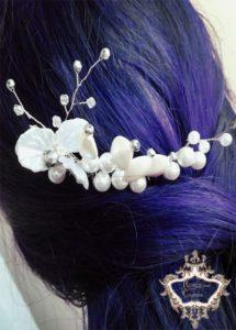 Нежно гребенче-аксесоар за коса за сватба - White Orchid by Rosie