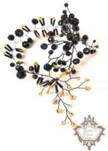 Дизайнерска гривна в черно и златно - Black Roses