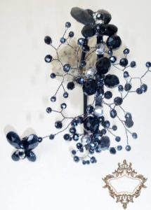 Дизайнерска диадема за коса с черни Сваровски Butterfly Dreams de Lux
