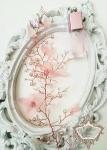 Кристална диадема в розово за сватба и бал Magnolia Gold Rose by Rosie