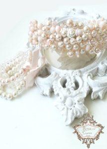 Дизайнерска диадема и гривни в цвят розова пудра Iced Rose by Rosie