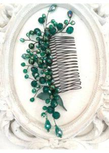 Украшение за коса - гребен с кристали Сваровски в тъмно зелено Emerald Rose by Rosie